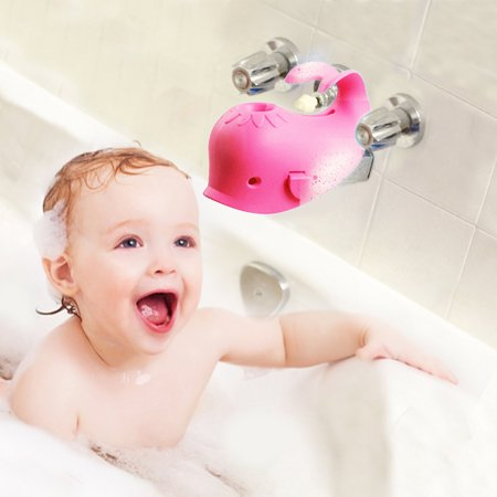 Children's Bathtub Spout Cover Safety Bathroom Silicone Faucet Guard Protector for Baby Kid Toddler-Pink Whale Bath Soft Spout Cover