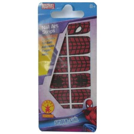 Childs Girls Spider Girl Nail Sticker Fingernail Kit Costume Accessory
