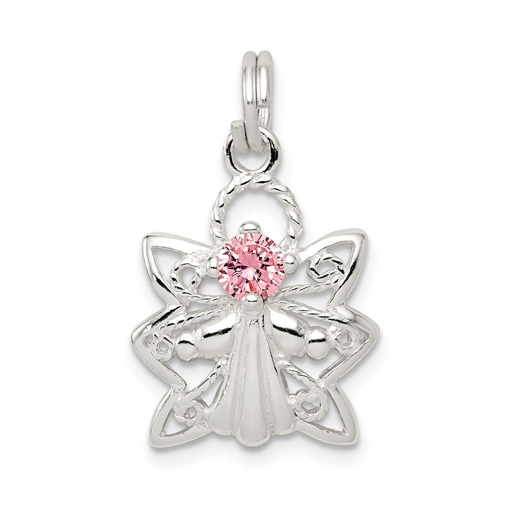 Sterling Silver Pink CZ Angel Charm (0.9in long x 0.6in wide)