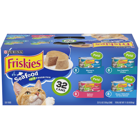 Friskies Pate Wet Cat Food Variety Pack, Seafood Favorites - (32) 5.5 oz.