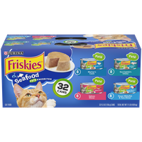 Friskies Pate Wet Cat Food Variety Pack, Seafood Favorites - (32) 5.5 oz. Cans