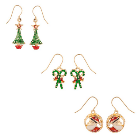 Lux Accessories Glittery Christmas Tree Candycane and Santa Dangle Charm Earrings (3pc)