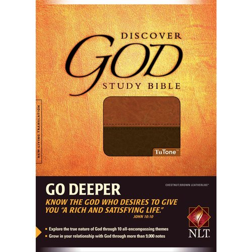 Discover God Study Bible: New Living Translation, Chestnut/Brown Leatherlike, Tutone