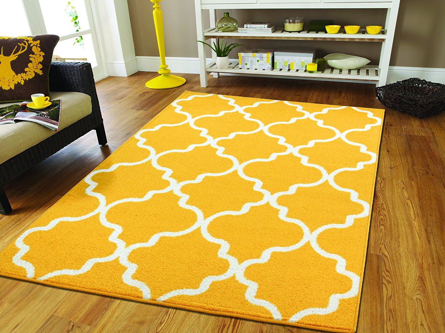 Large Yellow Rugs For Living Room 8x10 Morrocan Trellis Areu2026