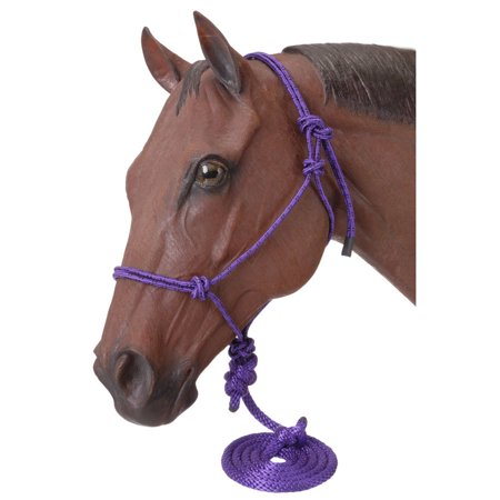 - Tough-1 Miniature Poly Rope Halter With Lead - Purple - Large