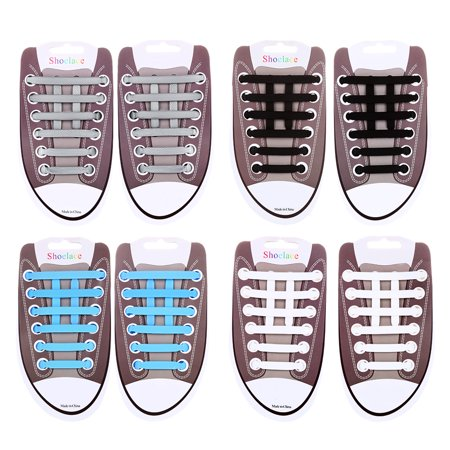 4 Pcs Silicone Shoelaces Elastic No Tie Shoelaces Waterproof Shoe Laces for Casual Shoes, Board Shoes and