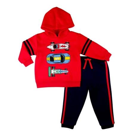 d30c83f0 Nannette - Toddler Boys Baby Outfit Red Race Cars Hoodie & Sweats Pants Set  - Walmart.com