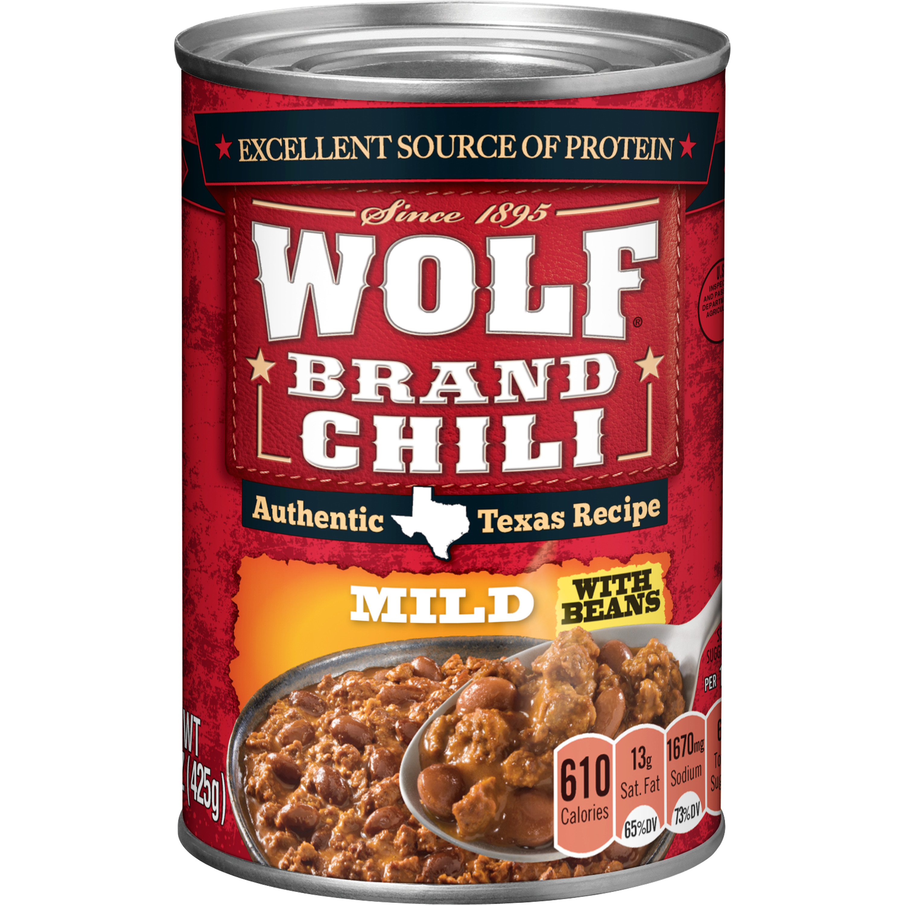 (6 Pack) Wolf Brand Mild Chili with Beans, 15 Ounce