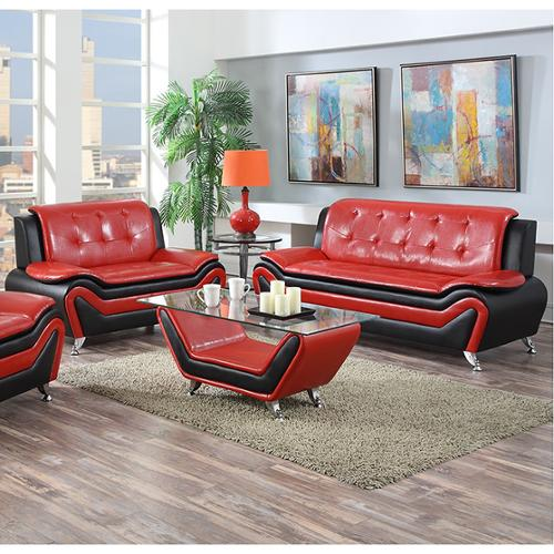 US Pride Furniture Wanda 2-piece Modern Bonded Leather Sofa Set