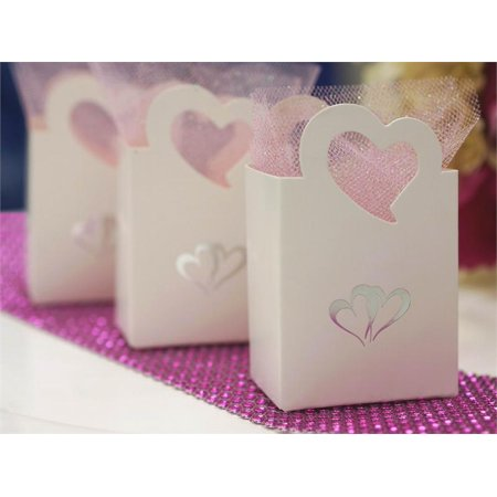 BalsaCircle Silver 25 pcs Double Hearts on White Favor Boxes - Wedding Party Candy Gifts Decorations Supplies Wholesale](Gift Boxes Wholesale)