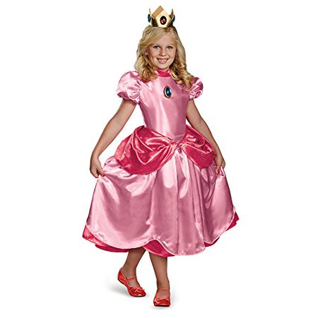Disguise Nintendo Super Mario Brothers Princess Peach Deluxe Girls Costume, Small/4-6x](Mario And Peach Costumes)