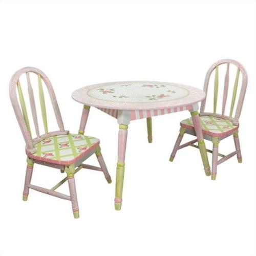 Fantasy Fields Hand Painted Crackled Rose Table and Set of 2 Chairs