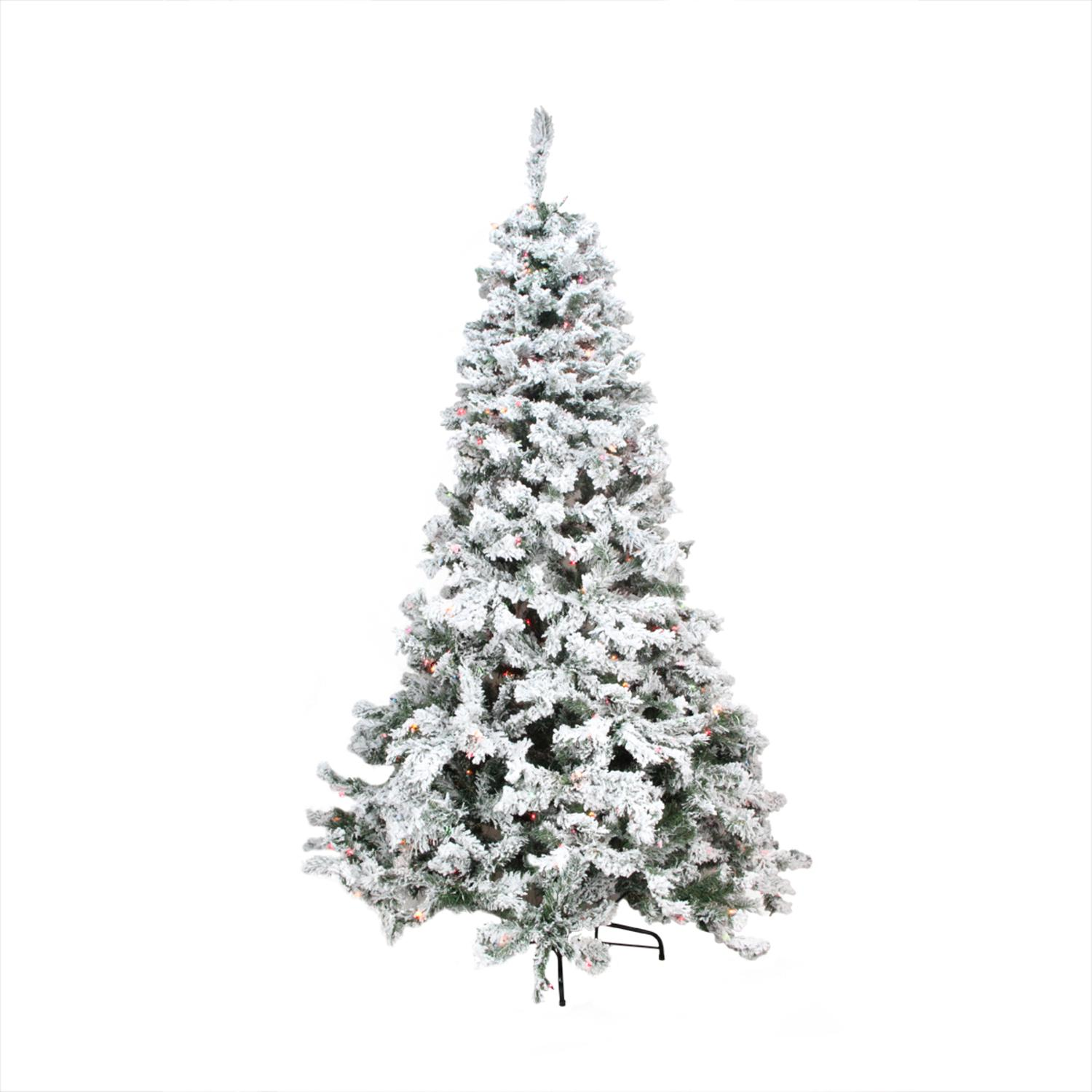 6.5' Pre-Lit Heavily Flocked Pine Medium Artificial Chris...