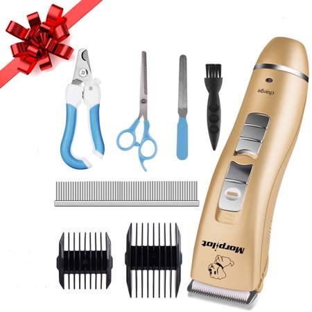 Dog Grooming Bands - Holiday Season Sale! Pro Cordless Rechargeable Dog Grooming Kit Dog Clippers Cordless Low Noise Pet Hair Clippers Trimmer Nail Clipper Kit for Small Dogs Cats Long Short Hair