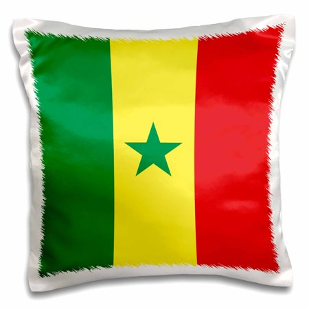 3dRose Flag of Senegal - Senegalese green yellow red stripes with star - West Africa African country world - Pillow Case, 16 by 16-inch](Yellow Star)