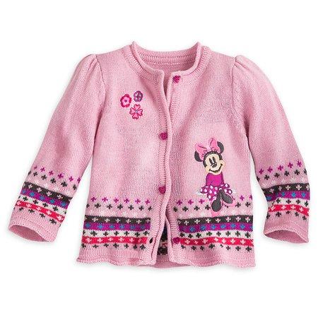 Disney Store Baby Girls Minnie Mouse Button Down Sweater, Pink, 18-24 Months
