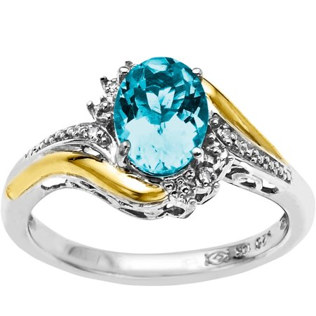 Sterling Silver with 10kt Yellow Gold Oval Simulated Blue Topaz and Diamond Accent (Sterling Silver Oval Citrine Ring)