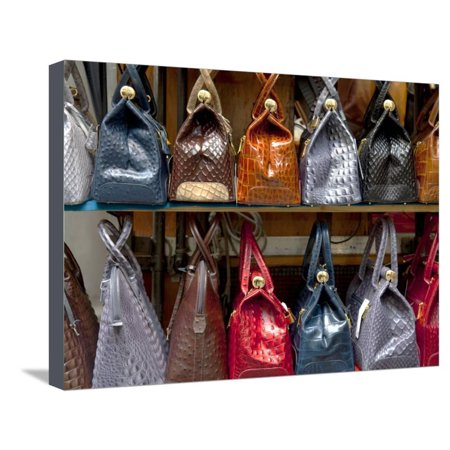 Italy, Florence, Tuscany, Western Europe, Leather Goods on Display Stretched Canvas Print Wall Art By Ken
