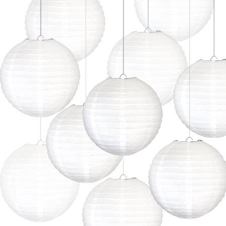 Novelty Place 6 inch White Paper Lanterns (Pack of 10) - Great Chinese/Japanese Home, Party & Wedding
