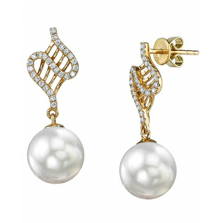 - 18K Gold 9mm White South Sea Cultured Pearl & Diamond Nancy Earrings