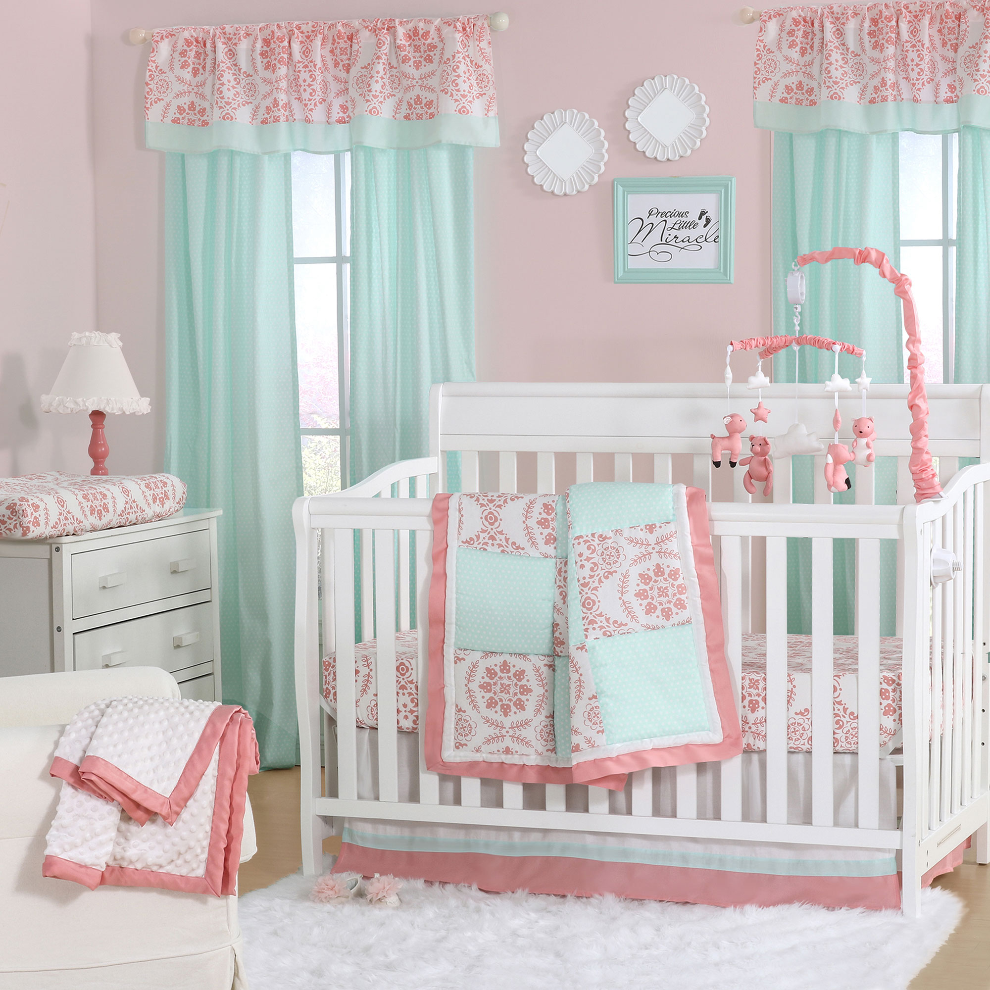 The Peanut Shell 4 Piece Baby Girl Crib Bedding Set - Coral Pink Floral Medallions and Mint Green Polka Dots Patchwork - 100% Cotton Quilt, Dust Ruffle, Fitted Sheet, and Mobile