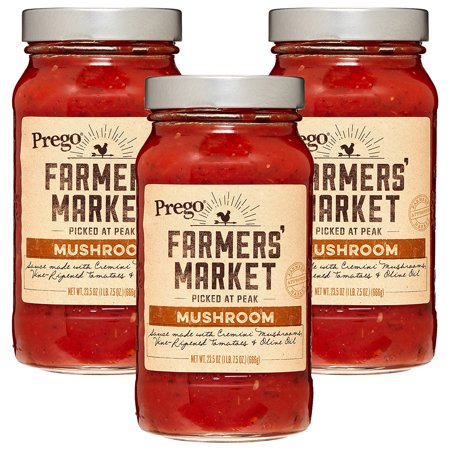 Portobello Mushroom Pasta ((3 Pack) Prego Farmers' Market Mushroom Sauce, 23.5 oz. )