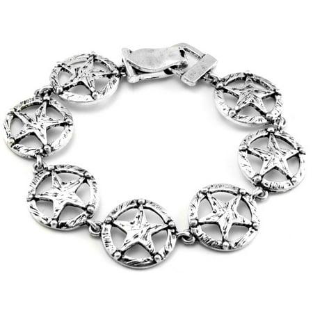 "Texas Lone Star Antiqued Silver Tone Link Bracelet 7.5"""