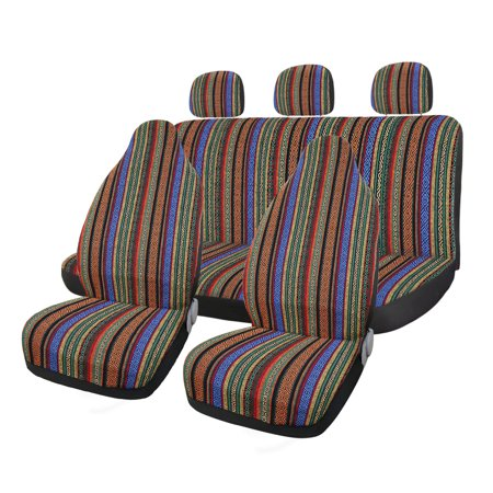7pcs Baja Blanket Ethnic Style Bucket Seat Cover for Car Automotive ()