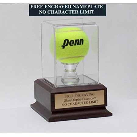 Free Cherry Wood Gift Box (Tennis Ball Personalized Acrylic Display Case with Cherry Finish Wood Platform Base & Free Engraving)