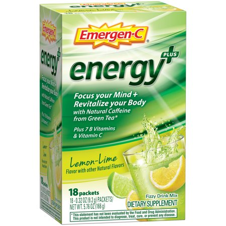 Emergen-C Energy- (18 Count Lemon-Lime Flavor) Dietary Supplement Drink Mix with Caffeine 0.32 Ounce Packets