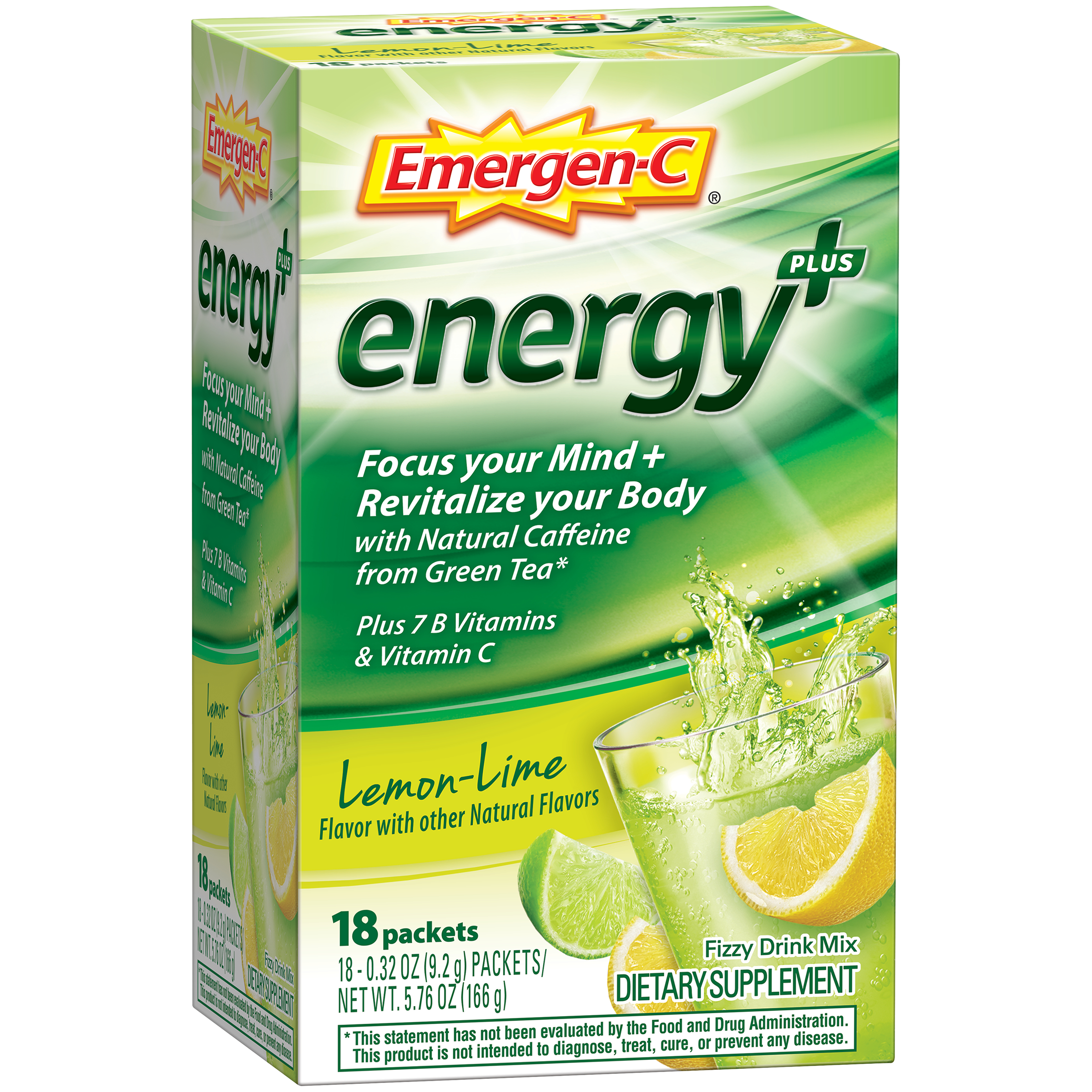 Emergen-C Energy+ (18 Count, Lemon-Lime Flavor) Dietary Supplement Drink Mix with Caffeine, 0.32 Ounce Packets