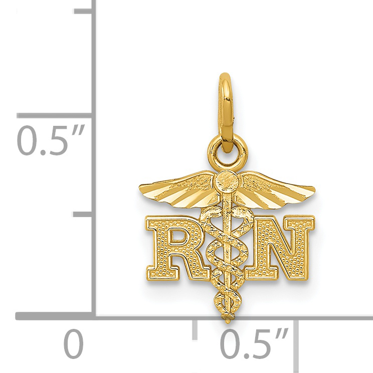 14k Yellow Gold Rn Caduceus Angel Nursing Registered Nurse Pendant Charm Necklace Career Professional Medical Fine Jewelry Gifts For Women For Her - image 1 of 2