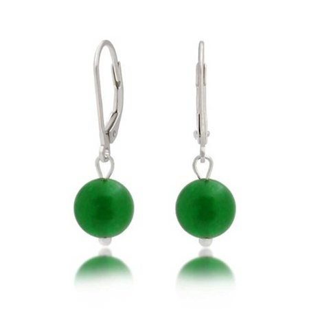 925 Silver Leverback Dyed Aventurine Bead Dangle (Green Aventurine Briolette Earrings)