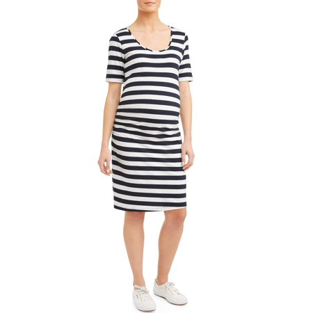 - Maternity Stripe Short Sleeve Knit Dress - Available in Plus Sizes
