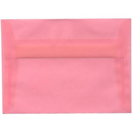 JAM Paper A7 Envelope, 5 1/4 x 7 1/4, Blush Pink Translucent Vellum, (Pink Translucent Vellum Envelope)