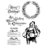 Tim Holtz Cling Rubber Stamp Set 7 X8.5  - Old Fashioned Christmas