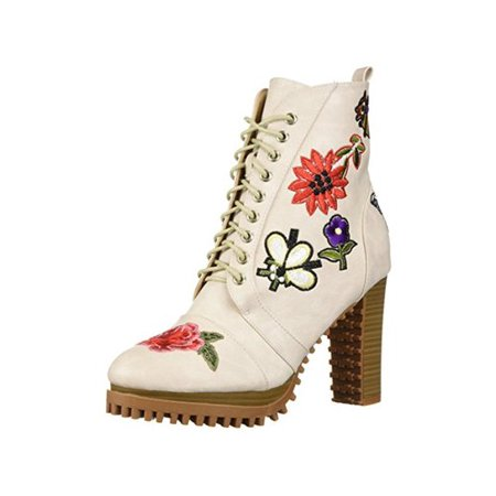 Penny Loves Kenny Women's Frank Combat Boot, White Distressed, Size