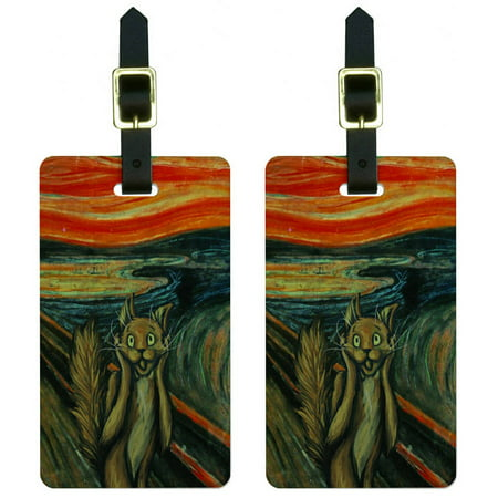 The Screaming Cat Edvard Munch Painting Parody Funny Luggage Tags ID, Set of (Screaming Cat)