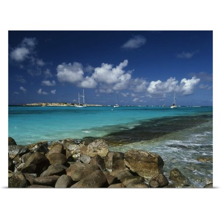 Great Big Canvas   Rolled Greg Johnston Poster Print Entitled Caribbean  St  Martin  Orient Bay