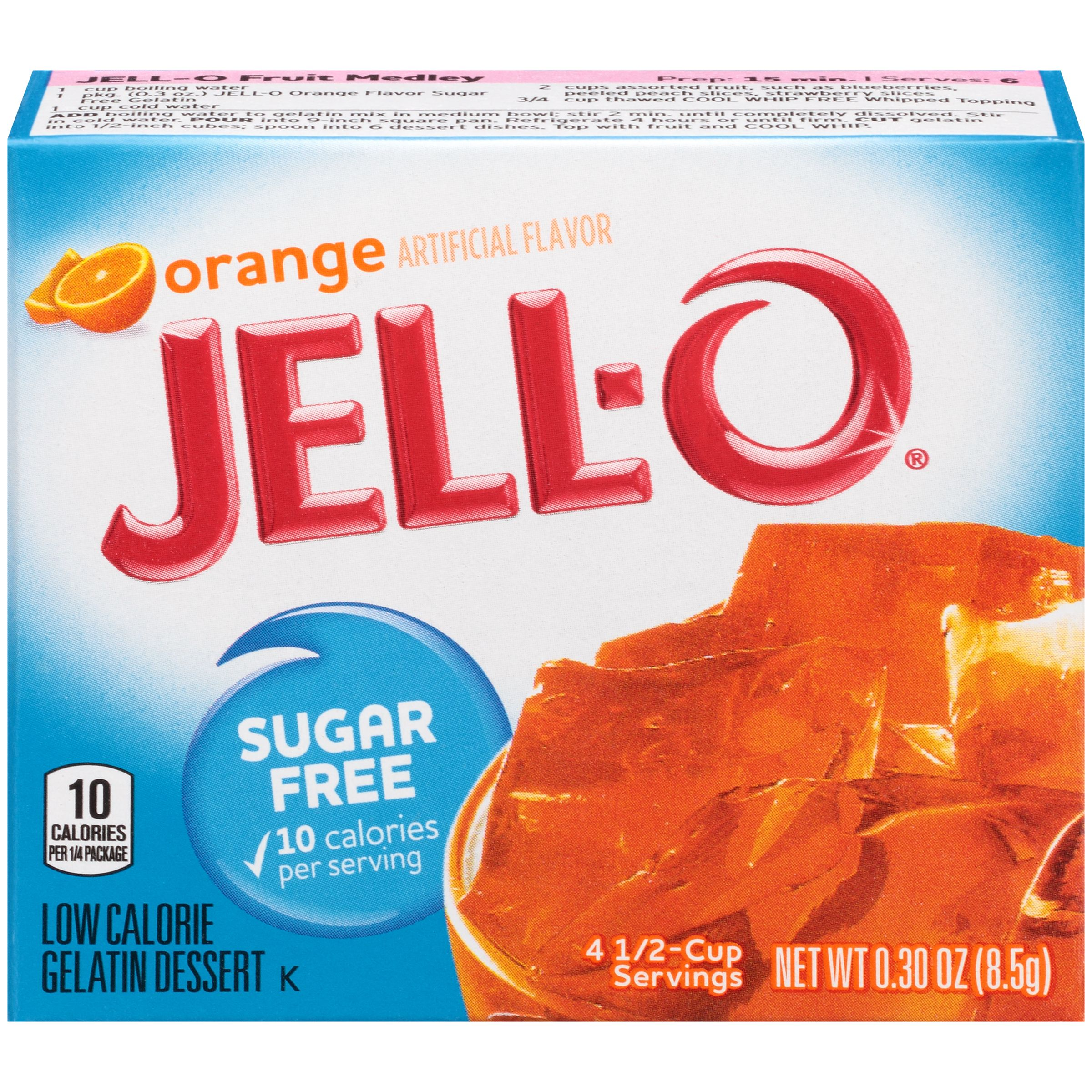Jell-O Sugar Free Orange Low Calorie Gelatin Dessert Mix 0.3 oz. Box