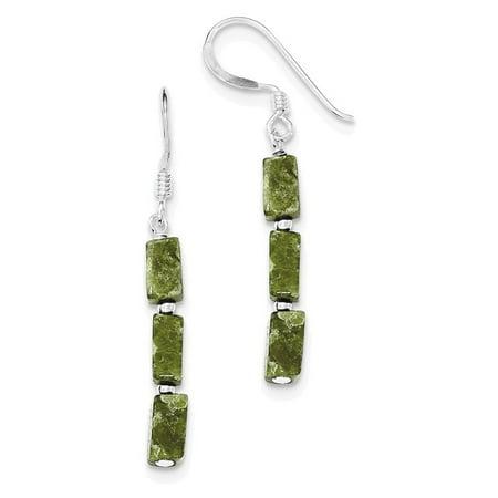 Sterling Silver Green Russian Serpentine Stone Earrings