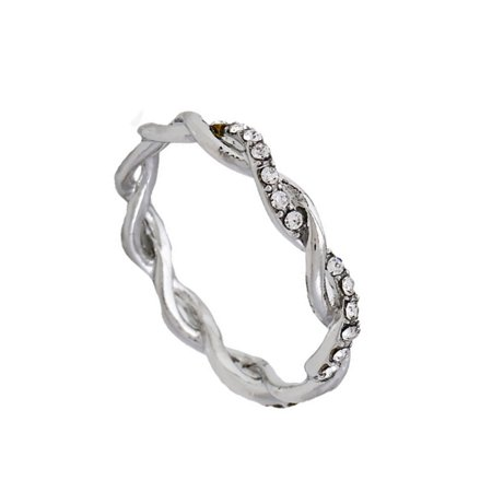 Women Exquisite Twist Ring Classical Alloy Bride Twisting Ring Attractive Full Diamond Finger Ring For Woman Girl -
