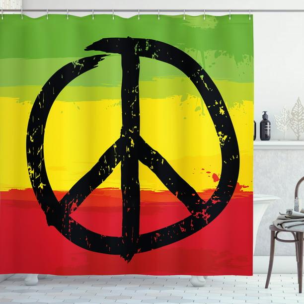 Rasta Shower Curtain Grunge Style, Peace Sign Bathroom