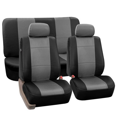 FH Group Faux Leather Airbag Compatible and Split Bench Car Seat Covers, Full Set, Gray and Black