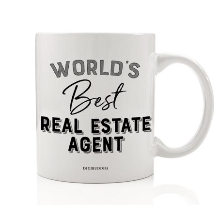 World's Best Real Estate Agent Mug Gift Idea Property Broker Buy Sell Settle New Home Licensed Agency House Apt Condo Christmas Holiday Thank You Present 11oz Ceramic Coffee Tea Cup Digibuddha DM0409