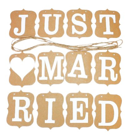 JUST MARRIED Wedding Engagement Banner Bunting Vintage Venue Decor Photo Prop