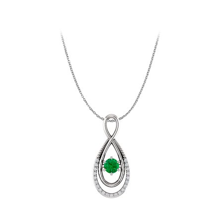 Emerald and CZ Infinity Pendant with Double Loop Style - image 2 de 2