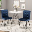 Set of 2 Noble House Carlstad Cobalt Metal Dining Chairs
