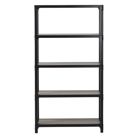 Homestar 4-Shelf Mixed Materials Bookshelf, Multiple Finishes