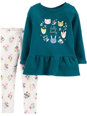 Carters Toddler Girls Hello Lovely Floral Leggings Set 3T Teal blue/grey multi